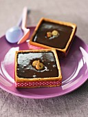 Square gianduja tartlets