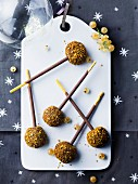 Mikado and praline truffle pops