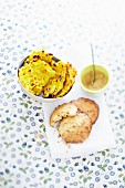 Sweetcorn fritters and peanut fritters