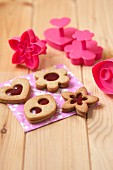 Strawberry jam shortbreads and biscuit cutters