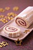 Express raspberry jam Christmas log rolled spong cake
