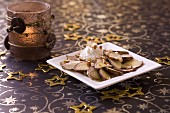 Cep carpaccio with fresh goat's cheese and crushed almonds