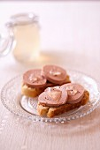 Foie gras and Champagne aspic on toasts