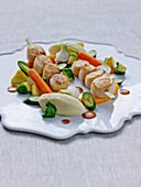 Scallop brochette with spring vegetables and pureed celeriac and potatoes