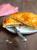 Galette des Rois (Three Kings' cake for Epiphany, France) with chestnut cream filling