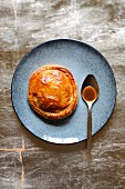 Vegetable and turkey pie with a foie gras sauce