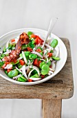 Broad bean,onion,tomato and crisp bacon salad