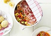 Minestrone with pancetta