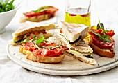 Halloumi Fougasse sandwich,roasted tomatoes on toast