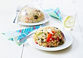 Quinoa and chickpea tabbouleh dome