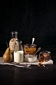 Ingredients for muesli with yoghurt,pear and milk jam