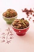 Quinoa with broccolis,raisins and cashews