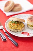 English scrambled egg muffin with capers,cilantro and poutargue