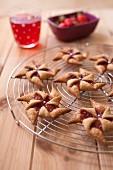 Strawberry jam windmill cookies