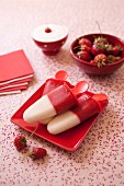 Strawberry and fromage blanc ice cream pops