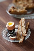 Soft-boiled egg with chestnut flour bread fingers