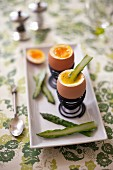 Soft-boiled eggs with green asparagus