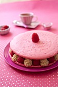 Giant raspberry and Chibouste cream macaroon