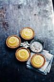Lemon curd Speculos ginger biscuit tartlets