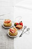 Mini bavarios with rhubarb, strawberries and gingerbread