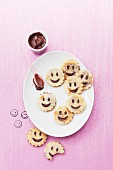 Chocolate garnished Smiley pancakes