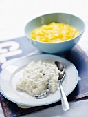 Rice pudding with mandarin orange and lemon essential oils,mango puree