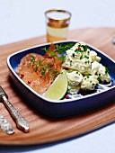 Potato salad with madras curry and graved lax