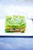 Salmon and cabbage leave terrine