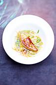 Vegetable consommé with pan-fried foie gras