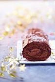 Chocolate and cherry log cake