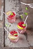 Raspberry,mint and lemon cool drinks
