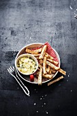 Celeriac fries ,caper and gherkin mayonnaise