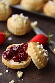 Scones with strawberry jam