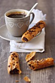 Nutella cigars and a cup of coffee