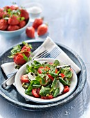 Corn lettuce,goat's cheese and strawberry salad