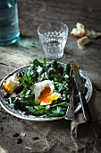 Corn lettuce,beetroot and squash seed salad with a poached egg