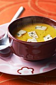Fish soup with blue cheese