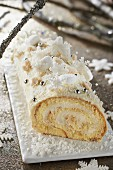 White chocolate and coconut log cake