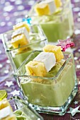 Avocado and coconut milk puree,pineapple and Petit Billy brochettes