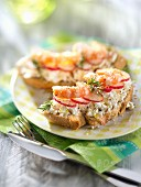 Philadelphia cream cheese,radish and shrimp open sandwiches