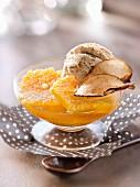 Orange fruit salad with apple-cinnamon infusion ,cinnamon ice cream