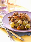 Pigeon roasted with honey and sesame seeds,grapes and spring onions