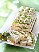 Chicken aspic terrine and chive mayonnaise mousseline