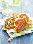 Roquefort flaky pastry twirls for an aperitif