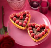 Chocolate and raspberry love tarts