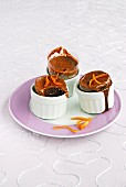 Chocolate-almond and orange zest soufflés