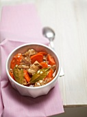 White meat, carrot, onion and bay leaf stew