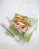 Asian noodle and sliced vegetable salad