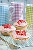 Pink praline cupcakes