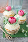 Cupcakes decorated with an almond paste rose